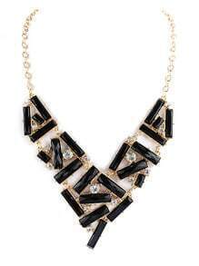 Black Gemstone Gold Diamond Collar Necklace