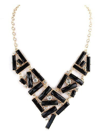 Black Gemstone Gold Diamond Collar Necklace