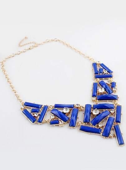 Blue Gemstone Gold Diamond Collar Necklace