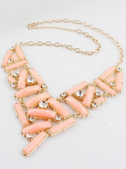 Pink Gemstone Gold Diamond Collar Necklace