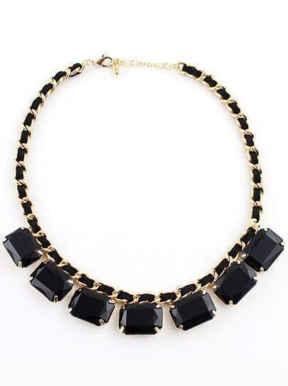 Black Geometric Gemstone Gold Necklace