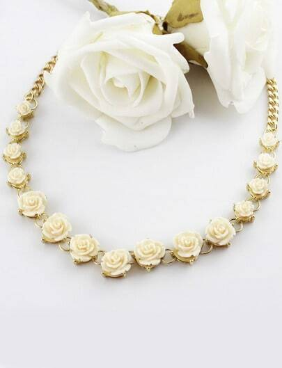 White Flowers Gold Chain Necklace