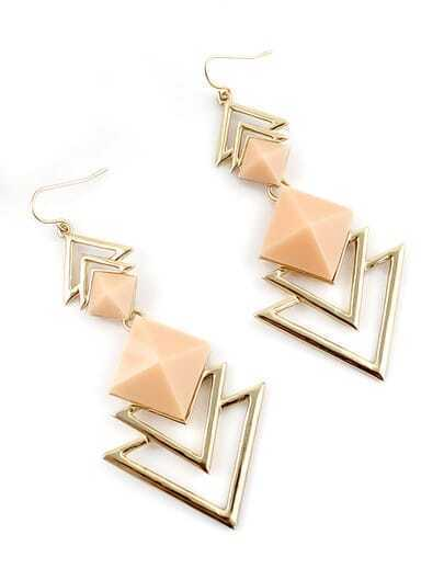 Apricot Gemstone Gold Hollow Dangle Earrings