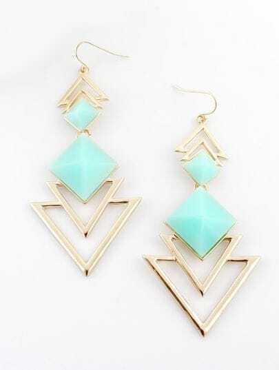 Green Gemstone Gold Hollow Dangle Earrings