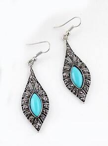 Blue Gemstone Retro Silver Hollow Dangle Earrings