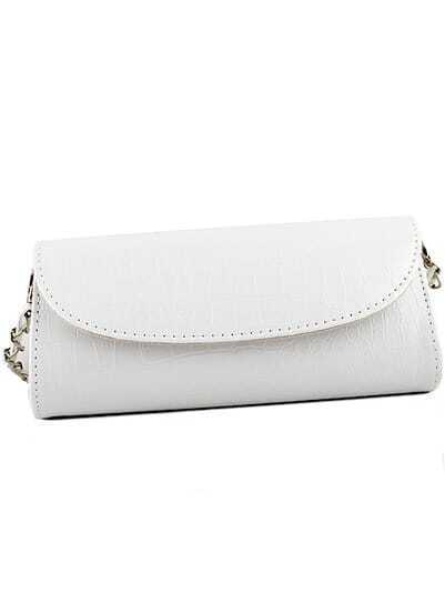 White Chain Patent Leather Clutches Bag