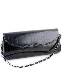 Black Chain Patent Leather Clutches Bag