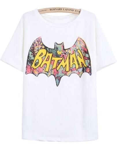 White Short Sleeve BATMAN Print T-Shirt