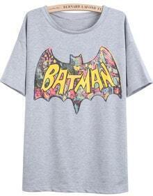 Grey Short Sleeve BATMAN Print T-Shirt