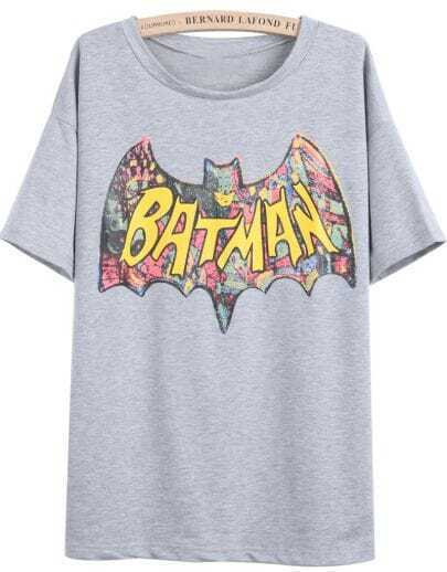 Grey Short Sleeve BATMAN Print T-Shirt