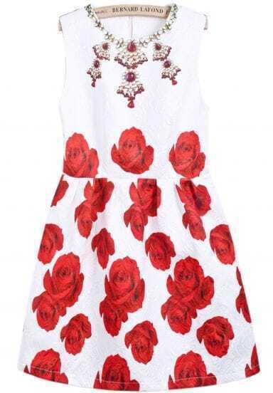 White Sleeveless Jewelry Floral Print Dress