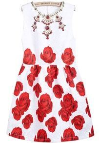 White Sleeveless Jewelry Floral Print Dress