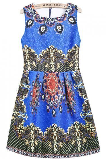 Blue Round Neck Sleeveless Vintage Floral Dress