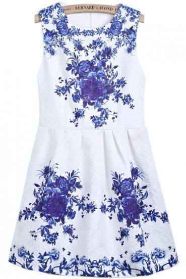 White Round Neck Sleeveless Blue Floral Dress
