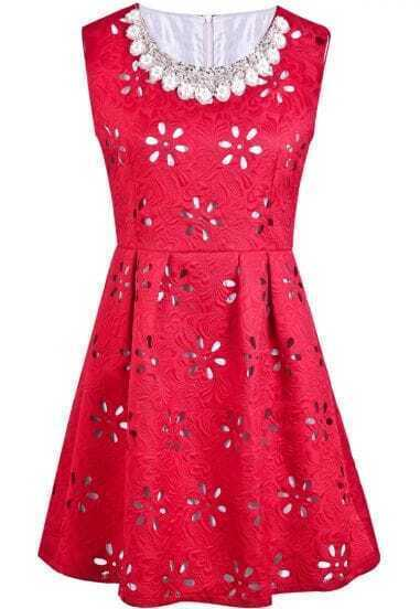 Red Sleeveless Hollow Bead Pleated Dress