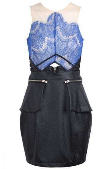 Blue Contrast PU Leather Lace Hollow Dress