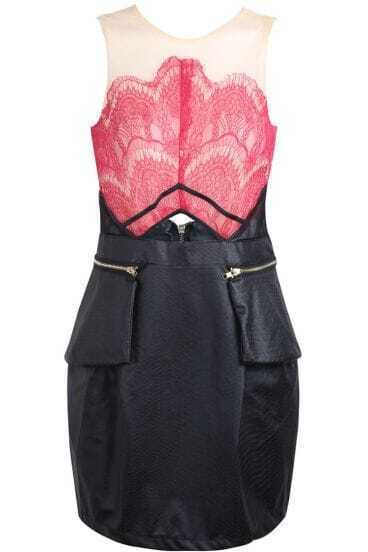 Red Contrast PU Leather Lace Hollow Dress