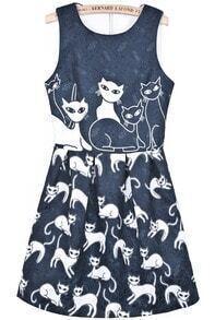 Black Round Neck Sleeveless Cats Print Dress
