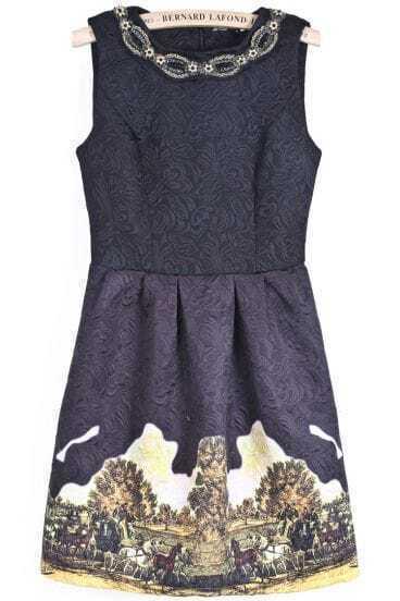 Black Sleeveless Bead Vintage Floral Dress