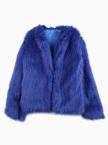 Blue Long Sleeve Faux Fur Outerwear