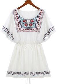 White Totem Embroidery Tribal Drawstring Dress
