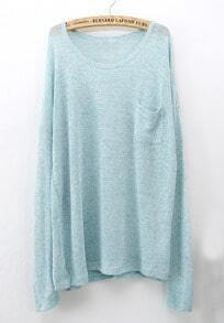 Blue Long Sleeve Pockets Oversized Sweater