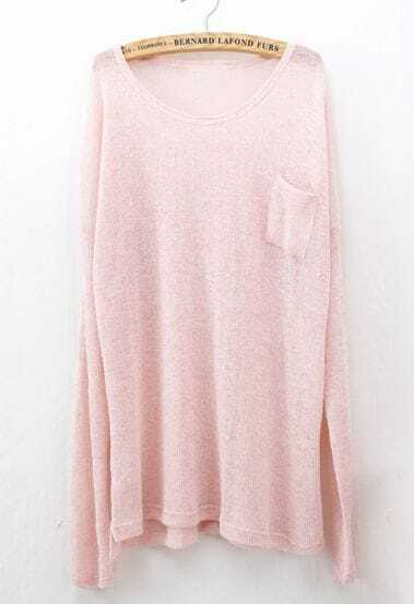 Pink Long Sleeve Pockets Oversized Sweater