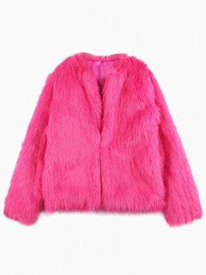 Rose Red Long Sleeve Faux Fur Outerwear