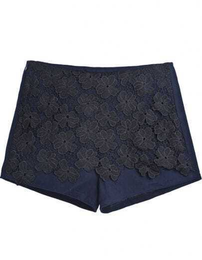 Blue Contrast Lace Embroidered Shorts