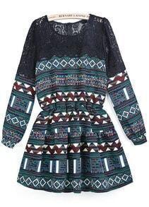 Green Long Sleeve Contrast Lace Geometric Print Dress