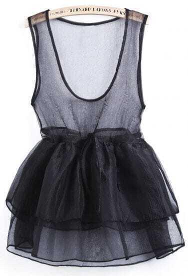 Black Scoop Neck Cascading Ruffle Flare Sheer Dress