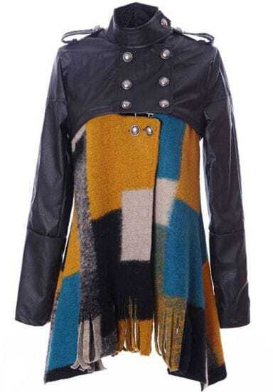 Black Contrast PU Leather Plaid Tassel Woolen Coat