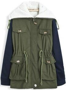 Green Lapel Contrast Long Sleeve Drawstring Coat