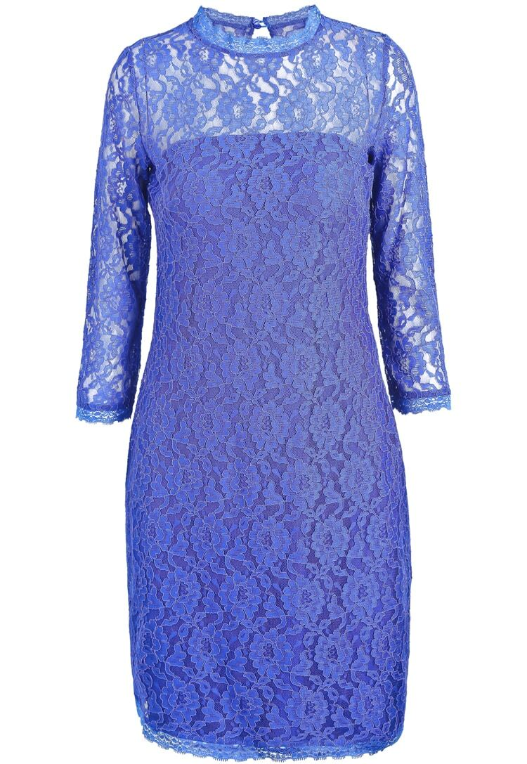 Blue long sleeve embroidered lace bodycon dress shein