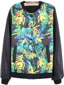 Black Contrast PU Leather Floral Jacket