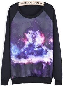 Black Long Sleeve Purple Galaxy Print Sweatshirt
