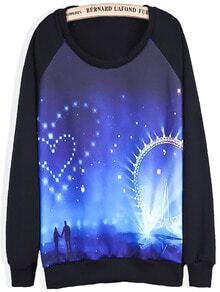 Black Long Sleeve Heart Galaxy Print Sweatshirt