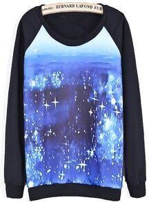 Black Long Sleeve Blue Sparkling Print Sweatshirt