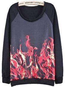 Black Long Sleeve Red Flame Print Sweatshirt