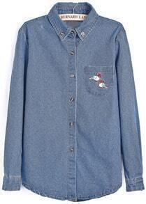 Blue Lapel Long Sleeve Embroidered Denim Blouse