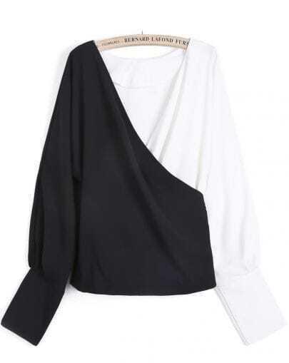 Black Contrast White V Neck Loose Crop Blouse