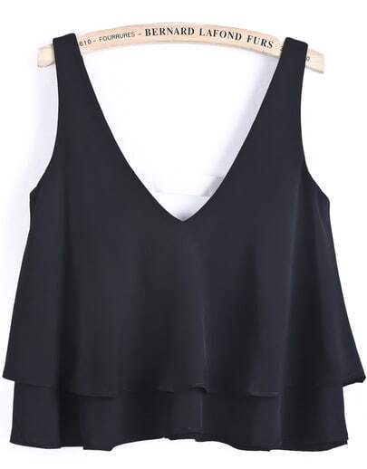 Black V Neck Cascading Ruffle Vest