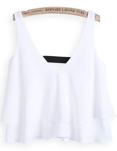 White V Neck Cascading Ruffle Vest