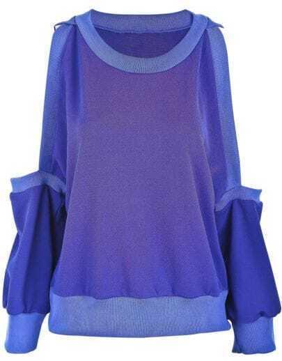 Blue Off the Shoulder Long Sleeve Loose T-Shirt