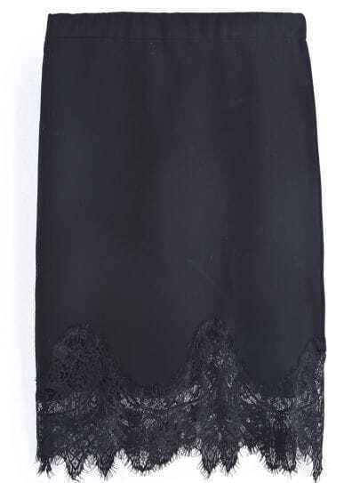 Black Contrast Lace Bodycon Skirt