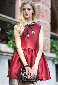 Wine Red Sleeveless Bowknot Beading Flare Hem Dress