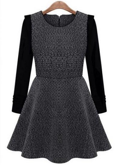 Grey Contrast Long Sleeve Ruffle Tweed Dress