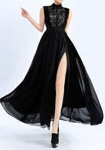 Black Sleeveless Lace Split Full Length Dress