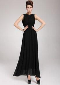 Black Sleeveless Backless Pleated Chiffon Dress