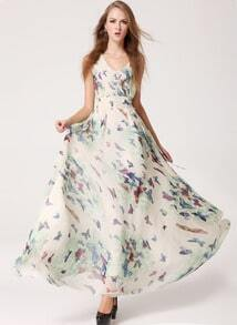Apricot V Neck Sleeveless Butterfly Print Dress